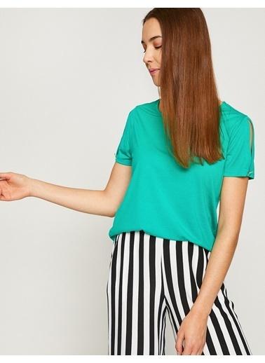 Koton Omuz Detaylı T-Shirt Yeşil